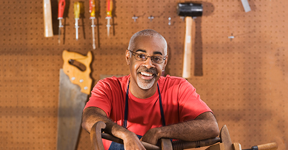 Man in garage with tools
