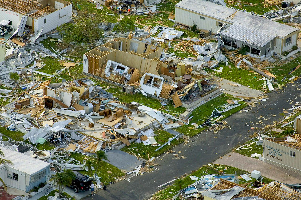 Photo of houses destroyed by hurricane