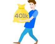 Drawing of man carrying money bag