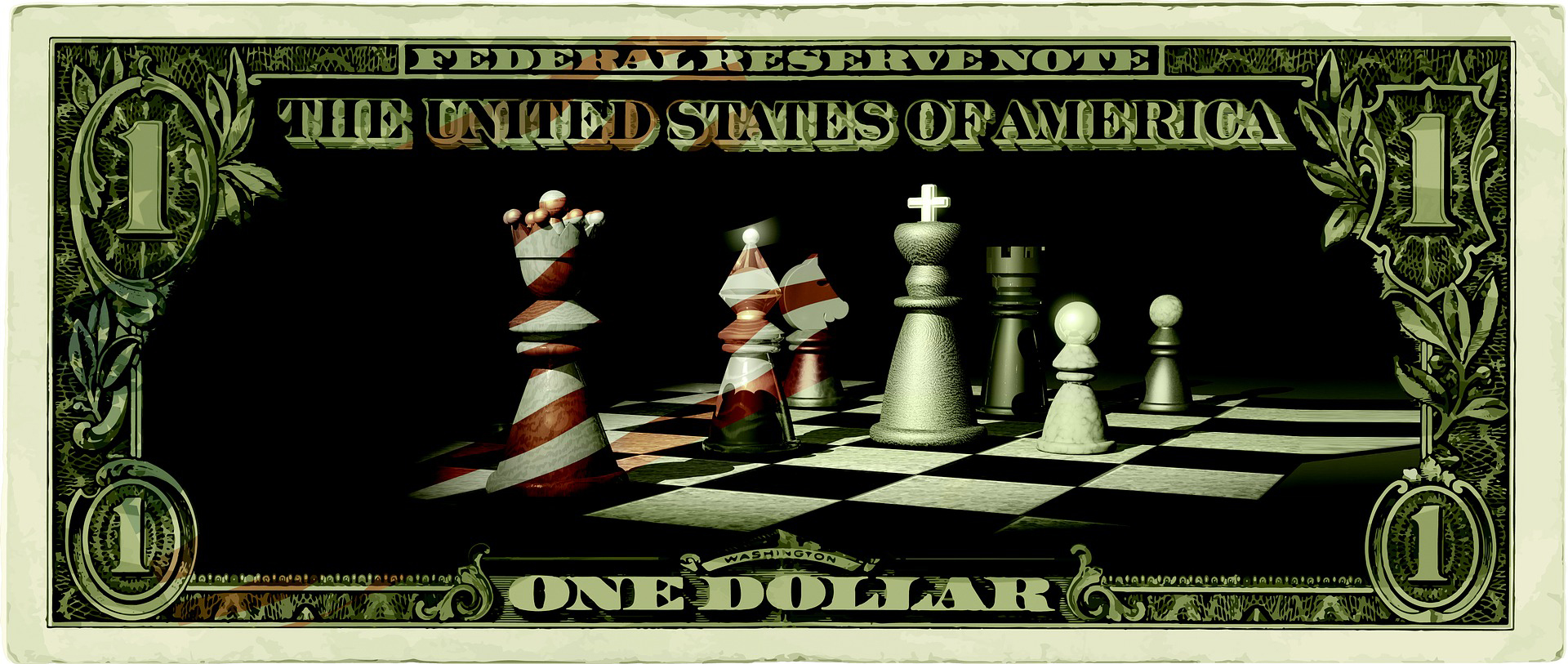 Picture of money and chess pieces