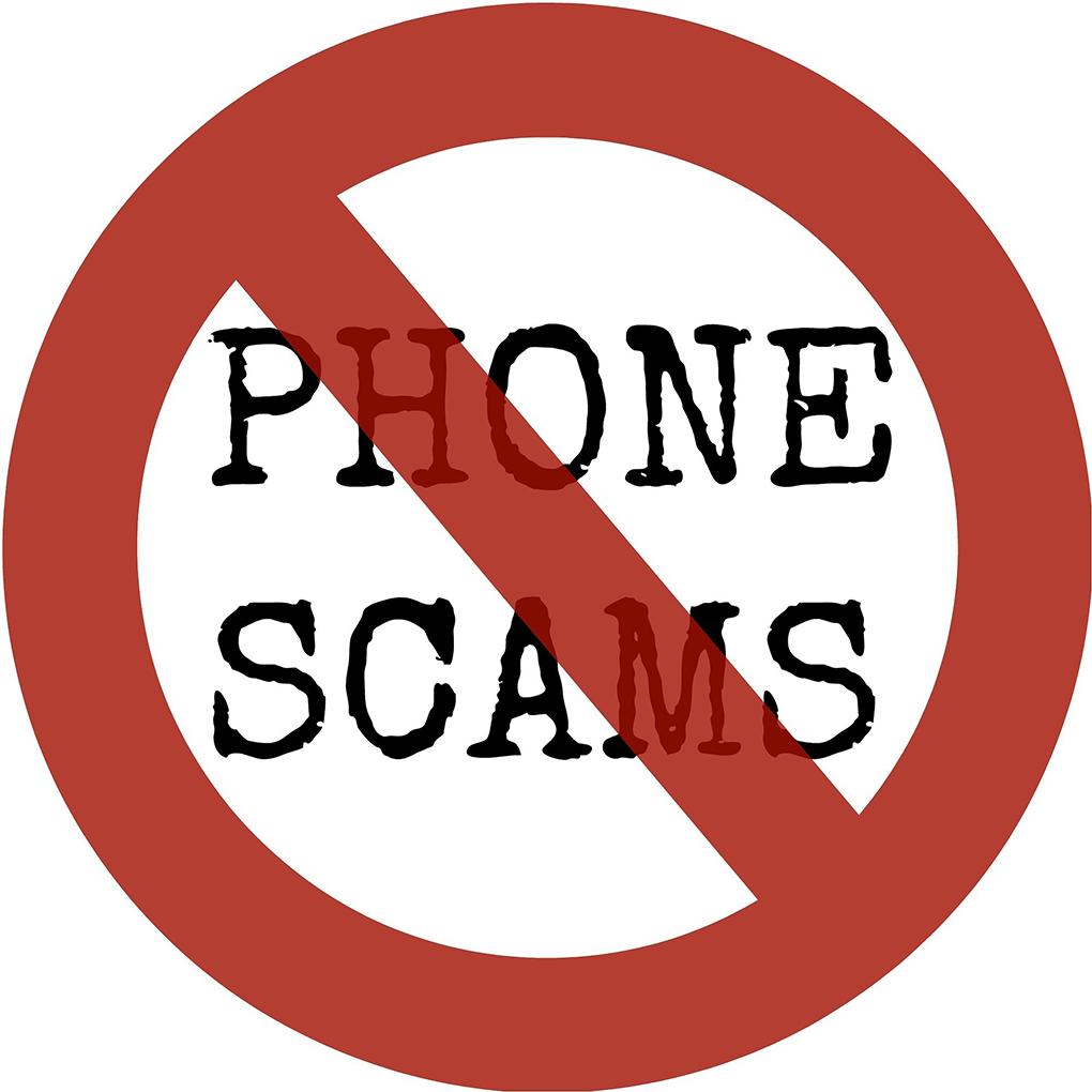 Picture of red circle with words Phone Scams