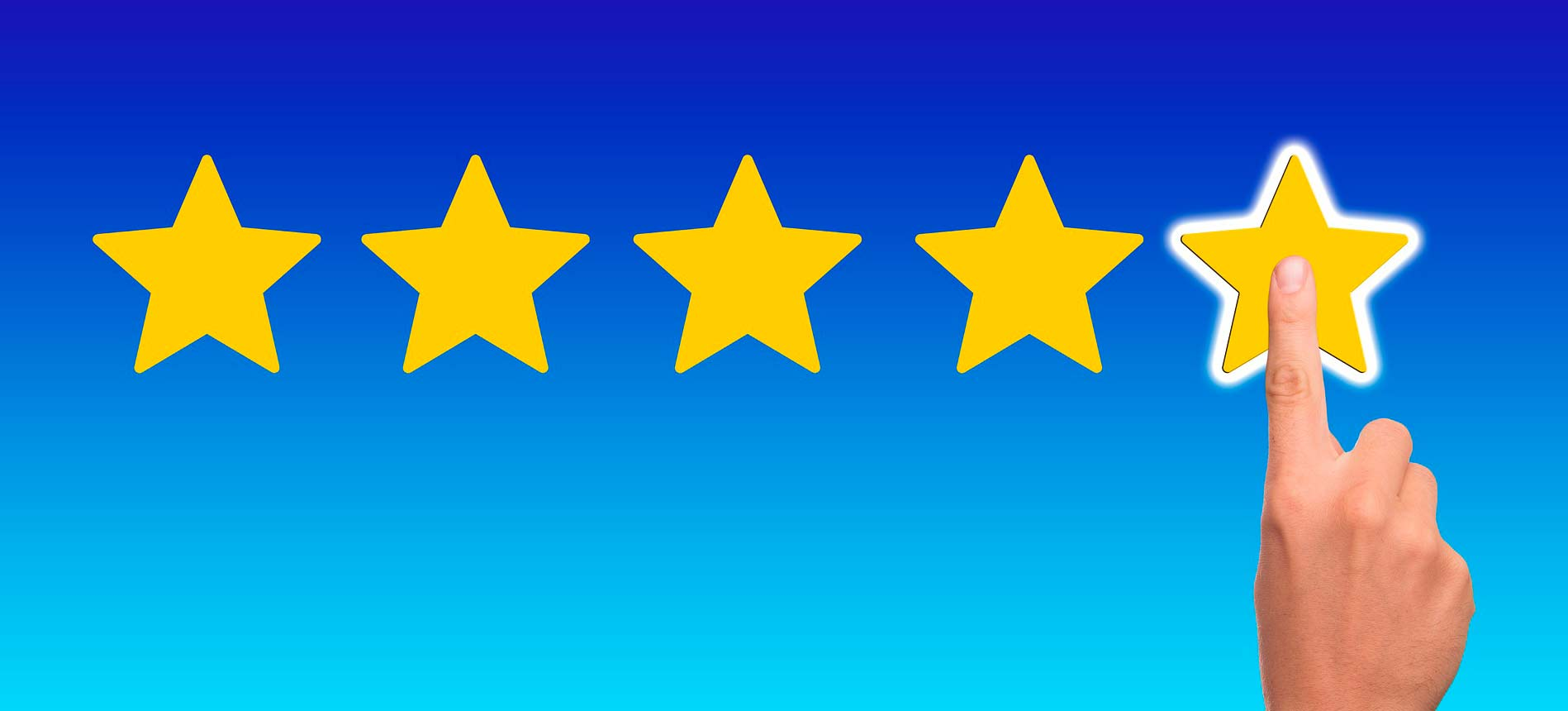 Picture of hand pressing stars for rating