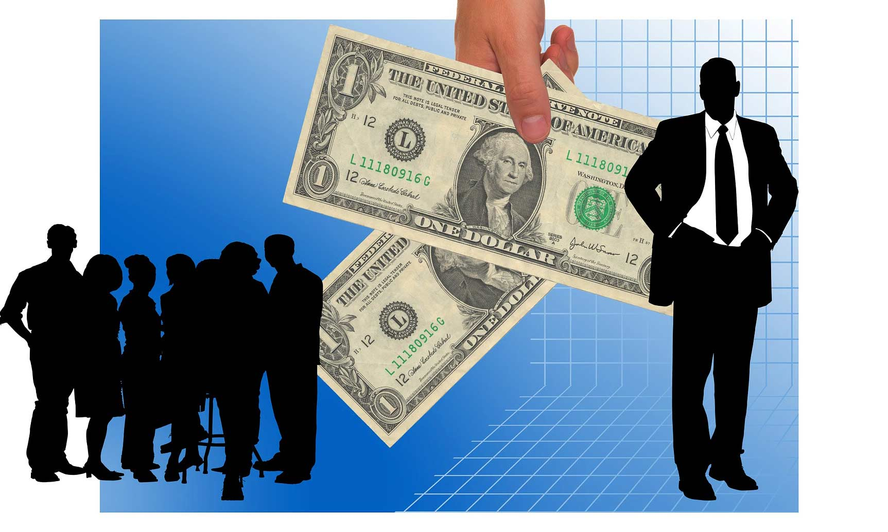 Picture of silhouette of business person and money