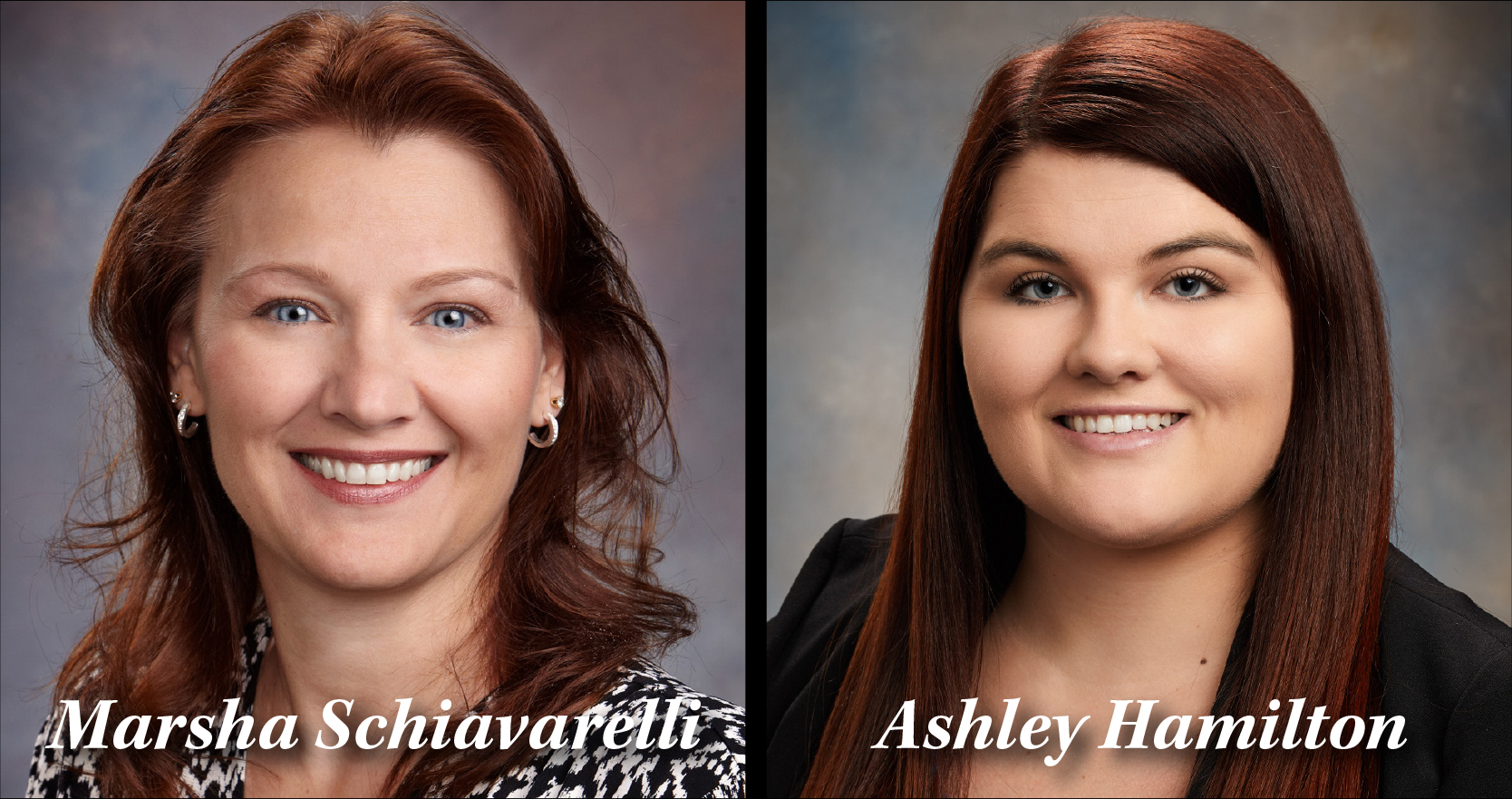 Headshot of Marsha Schiavarelli and Ashley Hamilton