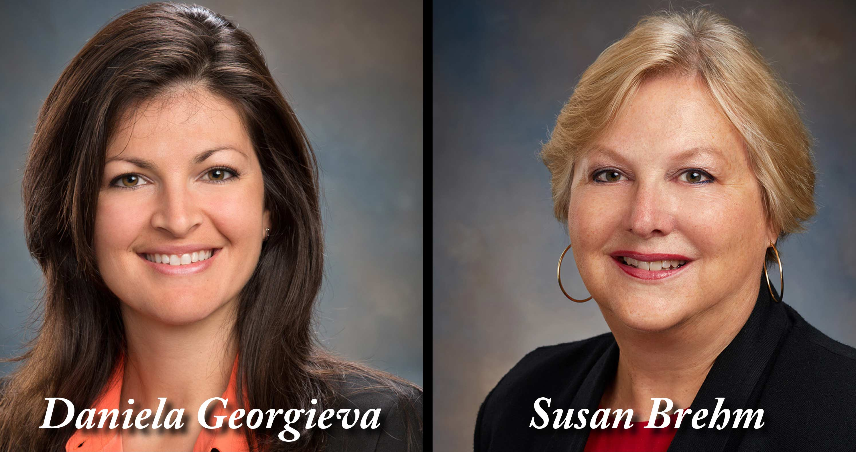 Headshot of Daniela Georgieva and Susan Brehm