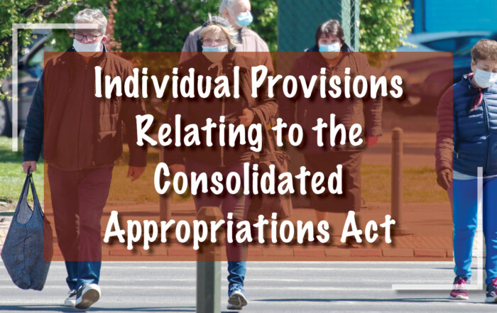 Individual Provisions Relating to the Consolidated Appropriations Act